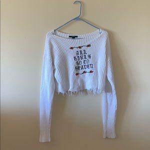 White Distressed Crop Top